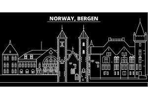 Bergen silhouette skyline. Norway - Bergen vector city, norwegian linear architecture, buildings. Bergen travel illustration, outline landmarks. Norway flat icon, norwegian line banner