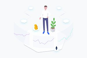 Exchange Blockchain Isometric