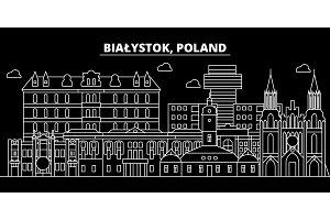 Bialystok silhouette skyline. Poland - Bialystok vector city, polish linear architecture, buildings. Bialystok line travel illustration, landmarks. Poland flat icon, polish outline design banner