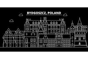 Bydgoszcz silhouette skyline. Poland - Bydgoszcz vector city, polish linear architecture, buildings. Bydgoszcz travel illustration, outline landmarks. Poland flat icon, polish line banner