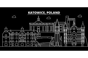 Katowice silhouette skyline. Poland - Katowice vector city, polish linear architecture, buildings. Katowice travel illustration, outline landmarks. Poland flat icon, polish line banner