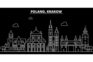 Krakow silhouette skyline. poland - Krakow vector city, polish linear architecture, buildings. Krakow travel illustration, outline landmarks. poland flat icon, polish line banner