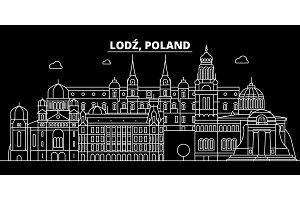 Lodz silhouette skyline. Poland - Lodz vector city, polish linear architecture, buildings. Lodz travel illustration, outline landmarks. Poland flat icon, polish line banner