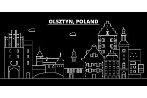 Olsztyn silhouette skyline. Poland - Olsztyn vector city, polish linear architecture, buildings. Olsztyn travel illustration, outline landmarks. Poland flat icon, polish line banner