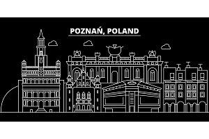 Poznan silhouette skyline. Poland - Poznan vector city, polish linear architecture, buildings. Poznan travel illustration, outline landmarks. Poland flat icon, polish line banner