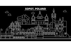 Sopot silhouette skyline. Poland - Sopot vector city, polish linear architecture, buildings. Sopot travel illustration, outline landmarks. Poland flat icon, polish line banner