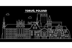 Torun silhouette skyline. Poland - Torun vector city, polish linear architecture, buildings. Torun travel illustration, outline landmarks. Poland flat icon, polish line banner