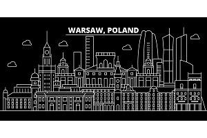 Warsaw silhouette skyline. Poland - Warsaw vector city, polish linear architecture, buildings. Warsaw travel illustration, outline landmarks. Poland flat icon, polish line banner