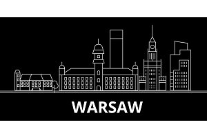 Warsaw city silhouette skyline. Poland - Warsaw city vector city, polish linear architecture, buildings. Warsaw city travel illustration, outline landmarks. Poland flat icon, polish line banner