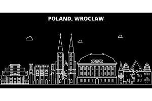 Wroslaw silhouette skyline. Poland - Wroslaw vector city, polish linear architecture, buildings. Wroslaw travel illustration, outline landmarks. Poland flat icon, polish line banner