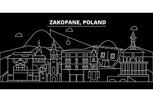 Zakopane silhouette skyline. Poland - Zakopane vector city, polish linear architecture, buildings. Zakopane travel illustration, outline landmarks. Poland flat icon, polish line banner