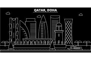 Doha silhouette skyline. Qatar - Doha vector city, qatari linear architecture, buildings. Doha travel illustration, outline landmarks. Qatar flat icon, qatari line banner