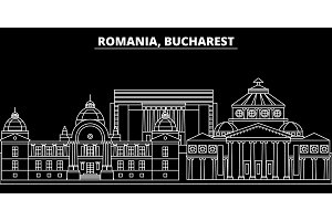 Bucharest silhouette skyline. Romania - Bucharest vector city, romanian linear architecture, buildings. Bucharest travel illustration, outline landmarks. Romania flat icon, romanian line banner