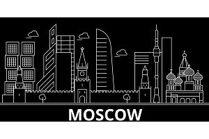 Moscow silhouette skyline. Russia - Moscow vector city, russian linear architecture, buildings. Moscow travel illustration, outline landmarks. Russia flat icon, russian line banner