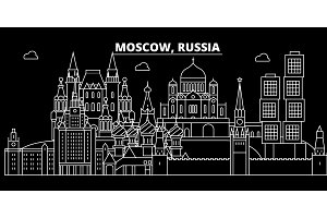 Moscow city silhouette skyline. Russia - Moscow city vector city, russian linear architecture, buildings. Moscow city travel illustration, outline landmarks. Russia flat icon, russian line banner