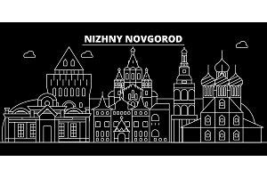 Nizhny Novgorod silhouette skyline. Russia - Nizhny Novgorod vector city, russian linear architecture. Nizhny Novgorod travel illustration, outline landmarks. Russia flat icon, russian line banner