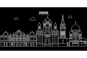 Omsk silhouette skyline. Russia - Omsk vector city, russian linear architecture, buildings. Omsk travel illustration, outline landmarks. Russia flat icon, russian line banner