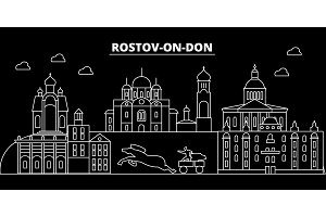 Rostov on Don silhouette skyline. Russia - Rostov on Don city, russian linear architecture. Rostov on Don line travel illustration, landmarks. Russia flat icon, russian outline design banner