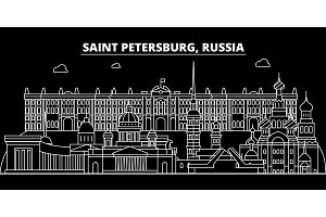 Saint Petersburg silhouette skyline. Russia - Saint Petersburg vector city, russian linear architecture. Saint Petersburg travel illustration, outline landmarks. Russia flat icon, russian line banner