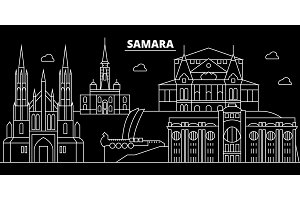 Samara silhouette skyline. Russia - Samara vector city, russian linear architecture, buildings. Samara travel illustration, outline landmarks. Russia flat icon, russian line banner