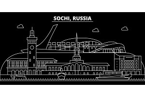 Sochi silhouette skyline. Russia - Sochi vector city, russian linear architecture, buildings. Sochi travel illustration, outline landmarks. Russia flat icon, russian line banner