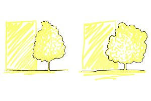 Trees ink line art sketch isolated