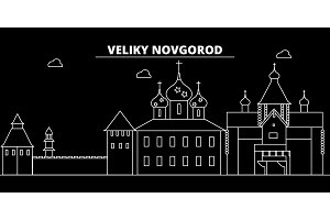 Velikiy Novgorod silhouette skyline. Russia - Velikiy Novgorod vector city, russian linear architecture. Velikiy Novgorod travel illustration, outline landmarks. Russia flat icon, russian line banner