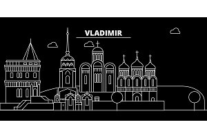 Vladimir silhouette skyline. Russia - Vladimir vector city, russian linear architecture, buildings. Vladimir travel illustration, outline landmarks. Russia flat icon, russian line banner