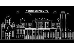 Yekaterinburg silhouette skyline. Russia - Yekaterinburg vector city, russian linear architecture. Yekaterinburg travel illustration, outline landmarks. Russia flat icon, russian line banner