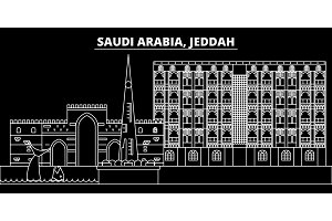 Jeddah silhouette skyline. Saudi Arabia - Jeddah vector city, saudi arabian linear architecture. Jeddah travel illustration, outline landmarks. Saudi Arabia flat icon, saudi arabian line banner