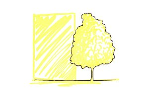 Tree ink line art sketch isolated