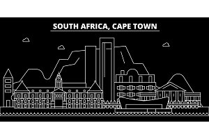 Cape Town silhouette skyline. South Africa - Cape Town vector city, south african linear architecture. Cape Town travel illustration, outline landmarks. South Africa icon, south african line banner