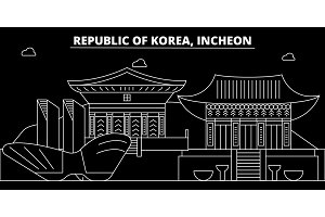 Incheon silhouette skyline. South Korea - Incheon vector city, korean linear architecture, buildings. Incheon travel illustration, outline landmarks. South Korea flat icon, korean line banner