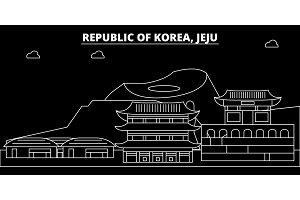 Jeju silhouette skyline. South Korea - Jeju vector city, korean linear architecture, buildings. Jeju travel illustration, outline landmarks. South Korea flat icon, korean line banner