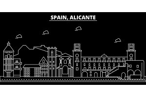 Alicante silhouette skyline. Spain - Alicante vector city, spanish linear architecture, buildings. Alicante travel illustration, outline landmarks. Spain flat icon, spanish line banner