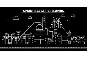 Balearic Islands silhouette skyline. Spain - Balearic Islands vector city, spanish linear architecture. Balearic Islands travel illustration, outline landmarks. Spain flat icon, spanish line banner