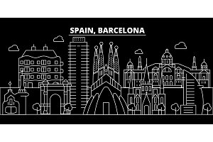 Barcelona city silhouette skyline. Spain - Barcelona city vector city, spanish linear architecture. Barcelona city travel illustration, outline landmarks. Spain flat icon, spanish line banner