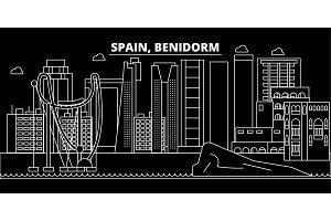 Benidorm silhouette skyline. Spain - Benidorm vector city, spanish linear architecture, buildings. Benidorm travel illustration, outline landmarks. Spain flat icon, spanish line banner