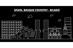 Bilbao, Basque Country silhouette skyline,vector city, spanish linear architecture, buildings. Bilbao, Basque Country travel illustration, outline landmarks. Spain flat icon, spanish line banner