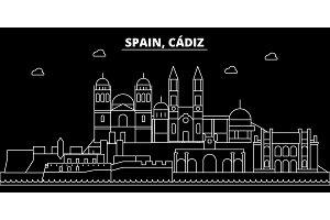 Cadiz silhouette skyline. Spain - Cadiz vector city, spanish linear architecture, buildings. Cadiz travel illustration, outline landmarks. Spain flat icon, spanish line banner