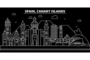 Canarian Islands silhouette skyline. Spain - Canarian Islands vector city, spanish linear architecture. Canarian Islands travel illustration, outline landmarks. Spain flat icon, spanish line banner