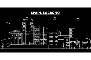 Logrono silhouette skyline. Spain - Logrono vector city, spanish linear architecture, buildings. Logrono travel illustration, outline landmarks. Spain flat icon, spanish line banner