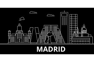 Madrid silhouette skyline. Spain - Madrid vector city, spanish linear architecture, buildings. Madrid line travel illustration, landmarks. Spain flat icon, spanish outline design banner