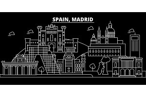 Madrid city silhouette skyline. Spain - Madrid city vector city, spanish linear architecture, buildings. Madrid city travel illustration, outline landmarks. Spain flat icon, spanish line banner