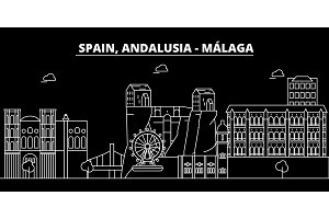 Malaga, Andalusia silhouette skyline. Spain - Malaga vector city, spanish linear architecture. Malaga, Andalusia line travel illustration, landmarks. Spain flat icon, spanish outline design banner