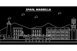 Marbella silhouette skyline. Spain - Marbella vector city, spanish linear architecture, buildings. Marbella travel illustration, outline landmarks. Spain flat icon, spanish line banner