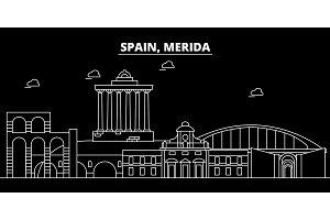 Merida silhouette skyline. Spain - Merida vector city, spanish linear architecture, buildings. Merida travel illustration, outline landmarks. Spain flat icon, spanish line banner