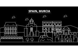 Murcia silhouette skyline. Spain - Murcia vector city, spanish linear architecture, buildings. Murcia travel illustration, outline landmarks. Spain flat icon, spanish line banner