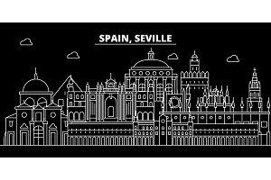 Seville silhouette skyline. Spain - Seville vector city, spanish linear architecture, buildings. Seville travel illustration, outline landmarks. Spain flat icon, spanish line banner
