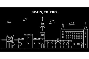 Toledo silhouette skyline. Spain - Toledo vector city, spanish linear architecture, buildings. Toledo travel illustration, outline landmarks. Spain flat icon, spanish line banner